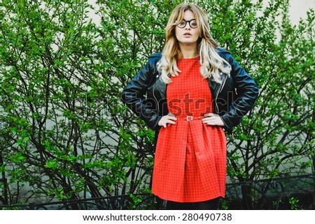 fashion hipster portrait of young beautiful blonde woman posing outdoor in summer  - stock photo