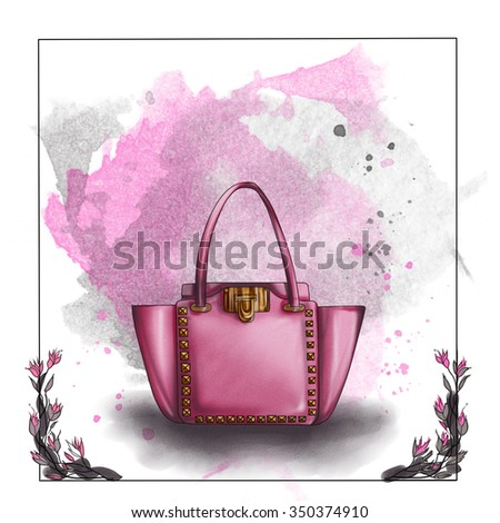 fashion illustration  -  watercolor raster  illustration of a designer bag