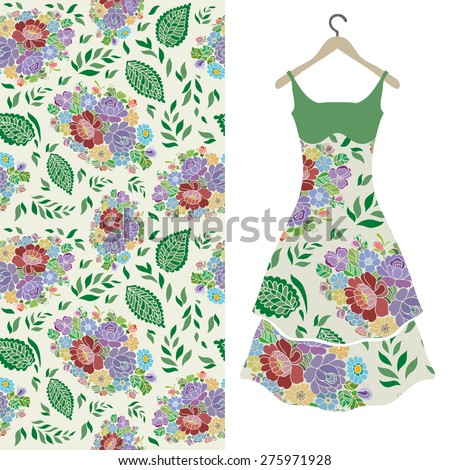 Fashion illustration, women's dress on a hanger, hand drawn seamless floral pattern, fabric repeating texture tribal ethnic ornament, elements for invitation or greeting card design. Raster version - stock photo