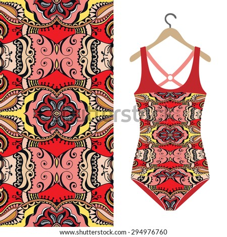 Fashion illustration, women's swimsuit on a hanger, geometric and floral seamless pattern, ethnic ornament, isolated elements for invitation or greeting card design. Raster version - stock photo
