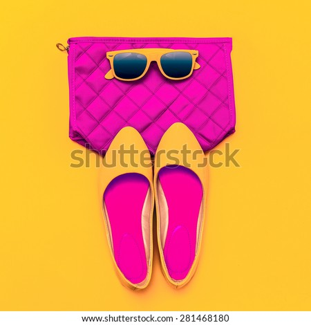 Fashion ladies' Accessories. Sunglasses, Clutch and Shoes. Bright style - stock photo