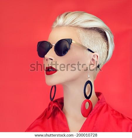 Fashion lady black red style - stock photo