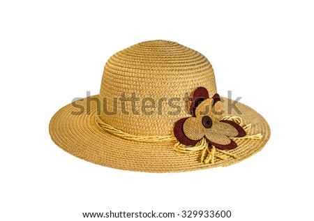 Fashion lady hat, white background - stock photo