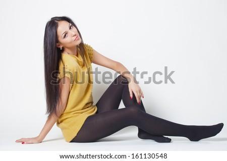 Fashion lady in short dress - stock photo