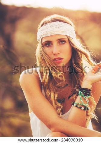 Fashion Lifestyle Portrait. Soft warm sunny colors. Happy carefree lifestyle. - stock photo