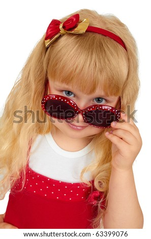 Fashion little funny  girl in  sunglasses on white background