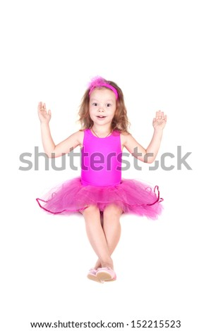 fashion little princess girl humor portrait, isolated over white