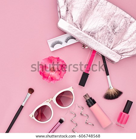Fashion Makeup Cosmetic Set Woman Beauty Stock Photo
