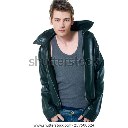 Fashion man, Handsome serious beauty male model portrait wear leather jacket - stock photo