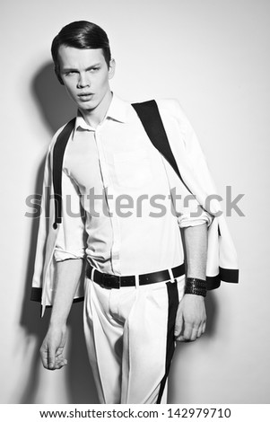 Fashion man in white suite