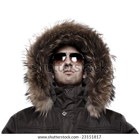 Fashion man in winter jacket - stock photo