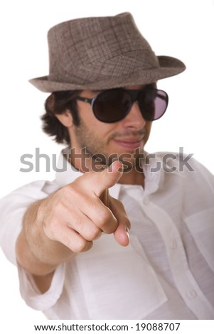 fashion man model pointing to you (selective focus) - stock photo