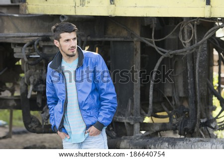Fashion man portrait in abandoned factory
