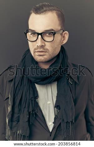 fashion man portrait - vintage style - stock photo