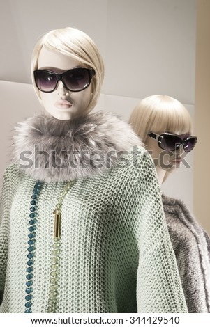 fashion mannequin display mall retail shopping luxury gift window - stock photo