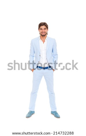 Fashion men, male model wear blue suit, young man full length portrait isolated over white background
