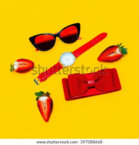 Fashion minimalism Mix. Fashionable Women's accessories. Red accent. - stock photo
