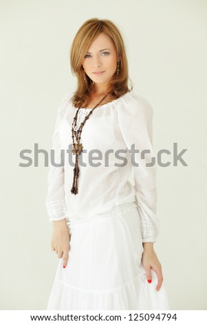 Fashion model, beautiful woman - professional makeup and hairstyle - stock photo