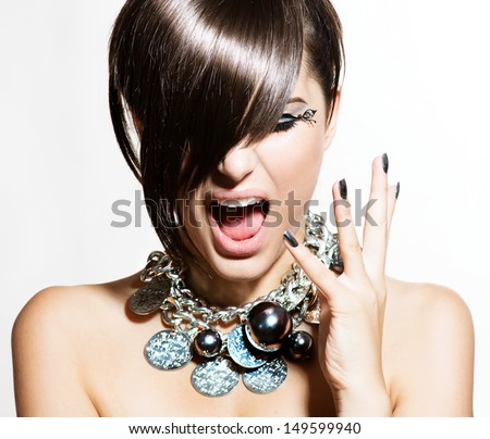 Fashion Model Girl Portrait. Excited Woman. Emotions. Trendy Hair Style and Manicure. Fringe. Haircut  - stock photo