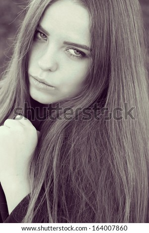 Fashion Model Girl Portrait with Long Hair.
