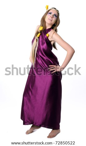 Fashion Model in Professional Hair and Makeup; Girl as beauty nymph with Tulips - stock photo