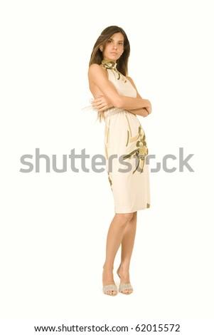 fashion model in studio with beautiful dress - stock photo