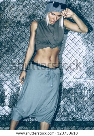 Fashion Model Military Glam style. - stock photo