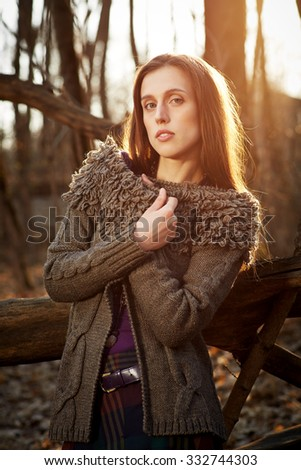 fashion model outdoors in a forest