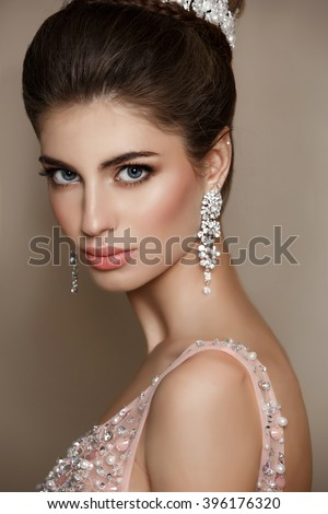 stock photo fashion model portrait in luxurious dress vogue style woman fashionable elegant lady in party 396176320
