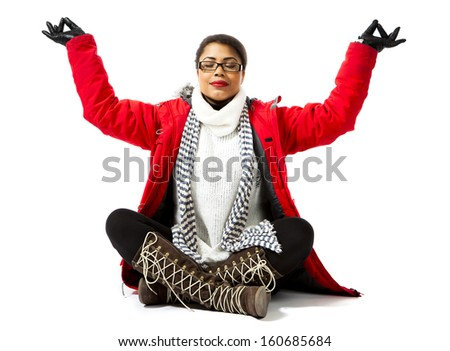 Fashion model posing in red jacket and neckpiece on white background. - stock photo