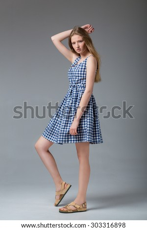 Fashion model posing. Photo shoot - stock photo