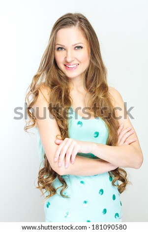 fashion model posing. young healthy woman smiling . - stock photo
