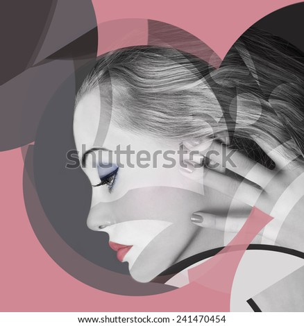 Fashion Model. Profile. Makeup. - stock photo