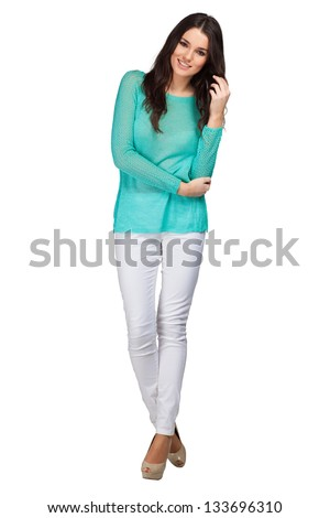 Fashion model wearing blouse with emotions - stock photo