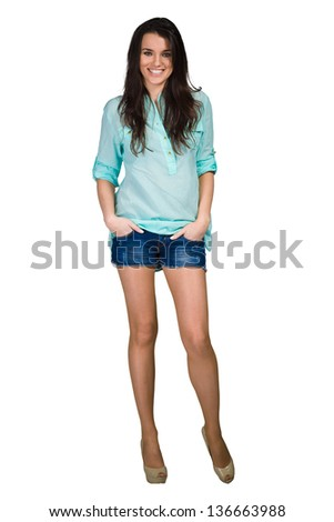 Fashion model wearing elegance blue shirt