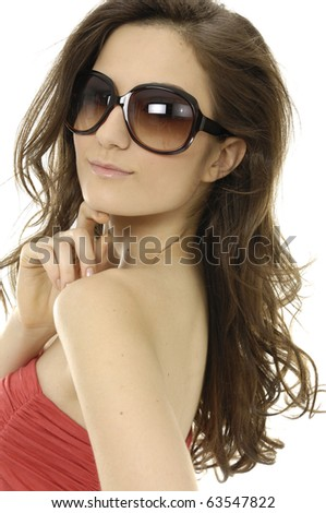 Fashion model wearing modern sunglasses.- close up
