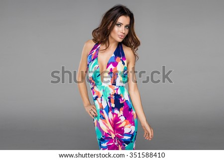 Fashion model wearing multicolored clothes - stock photo