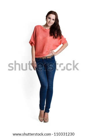 Fashion model wearing pink sweater with emotions - stock photo