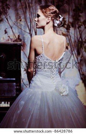 Fashion model wearing wedding dress
