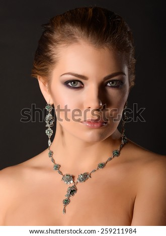 Fashion model with jewelry - stock photo