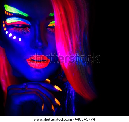 Fashion Model Woman Neon Light Portrait Stock #1: stock photo fashion model woman in neon light portrait of beautiful model girl with fluorescent make up body