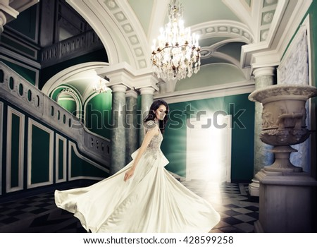 Fashion Model Woman in Royal Palace