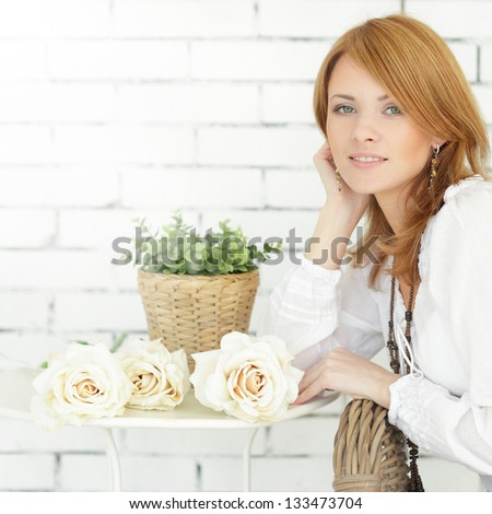 Fashion model, young spring beauty - stock photo