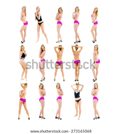 Fashion Models One Girl Team  - stock photo