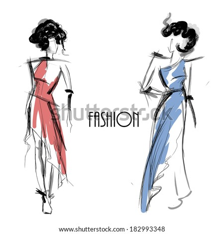 Fashion models. Sketch. - stock photo