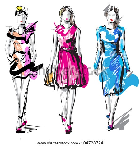 Fashion models. Sketch. Raster version - stock photo