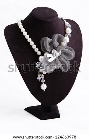 Fashion necklace  isolated on white background - stock photo