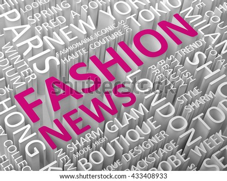 Fashion news word cloud 3d illustration.