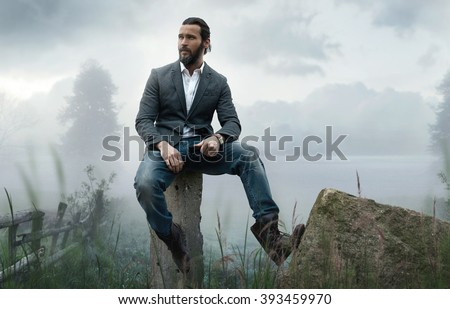 Fashion outdoor photo of elegant stylish model