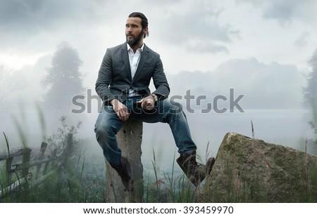 Fashion outdoor photo of elegant stylish model - stock photo